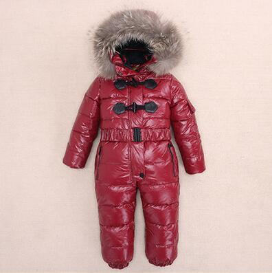 3-6T Rusya Kış Boy Çocuklar için Sıcak Kar Çocuk Kız Giyim Big Kürk Şapka Aşağı Romper Kızlar Catsuit Açık tulumları tutar