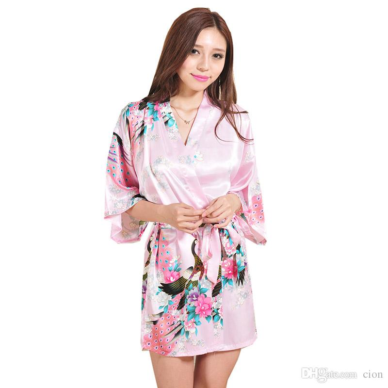 0fa8496e16 2019 Women Sexy Pajamas Japanese Silk Kimono Robe Loose Peacock Bathrobe  Nightdress Sleepwear Broken Flower Kimono Underwear S XXL From Cion
