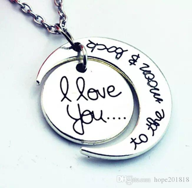 Fashion Necklace Moon Necklace I Love You To The Moon And Back For Mom Sister Family Pendant Link Chain
