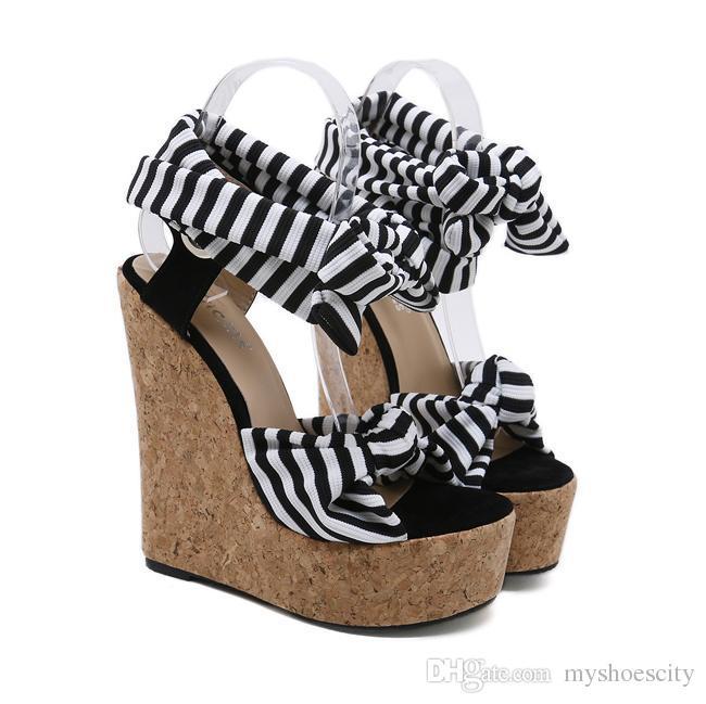 7edcda97367788 Lena ViViv Navy Stripes Ultra High Platform Wedge Heel Sandals 16cm ...