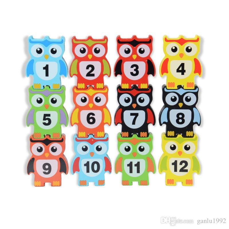 Children Wooden Learning Education Balance Building Block Toy Bricks Early Childhood Owl Beneficial Intelligence Toys 11 5cw W