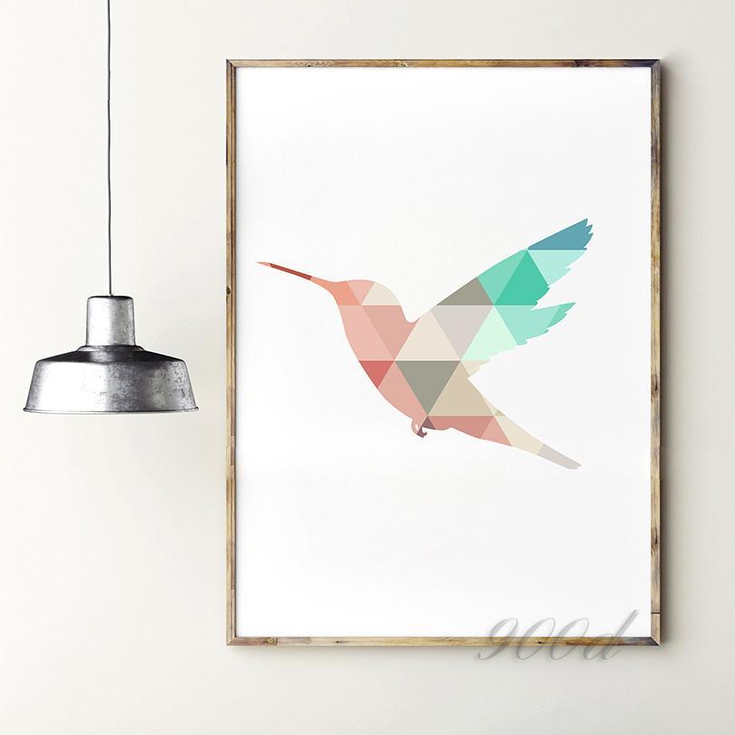 Satın Al Geometrik Uçan Ağaçkakan Tuval Sanat Baskı Boyama Posteri