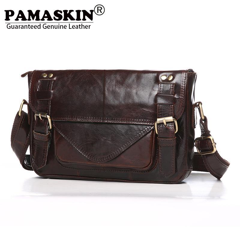 a3ca1c308f PAMASKIN Brand Cow Leather Vintage Men Shoulder   Cross Body Bags Designer  England Style Businessmen Messenger Bag Male Leather Handbag Branded  Handbags ...