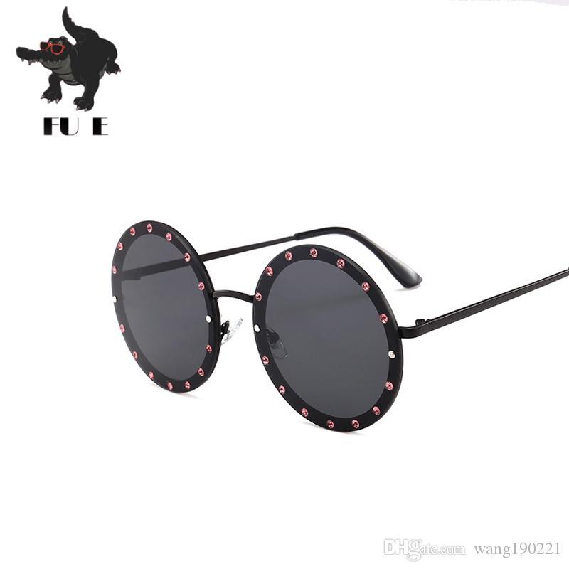 ff6c7ec7d8d FU E New Round Diamond Sunglasses Women Fashion Designers Luxury Diamonds Decorative  Metal Frames Fashion UV400 Men S The Sun Glasses 832 Designer ...