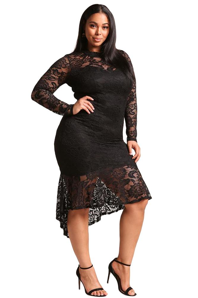 Plus Size Floral Lace Xxxl Women Club Dress Sexy Long Sleeve Party