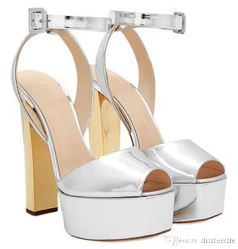 44ed4300052 Ladies Charming Peep Toe Shining Patent Leather High Platform Chunky Heel  Sandals Ankle Strap Thick High Heel Sandals Formal Dress Shoes Shoes For  Women ...