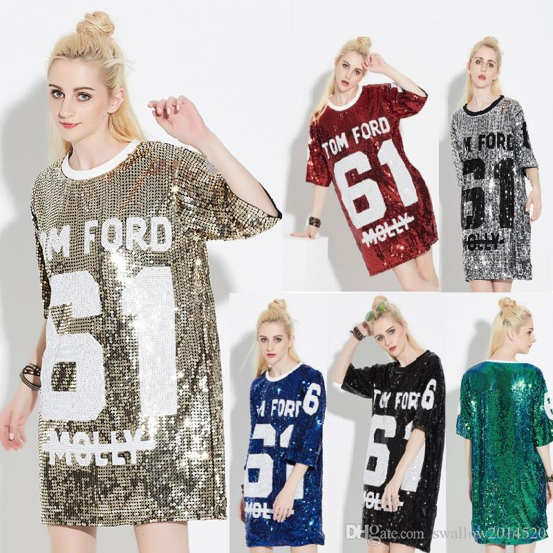 9a4b91c55c Woman Club Dresses 2018 Sequin T Shirt Dress Plus Size Loose Tee Shirts  Glitter Tops Christmas Dress Women Fashion Corset Dress Sun Dress From ...