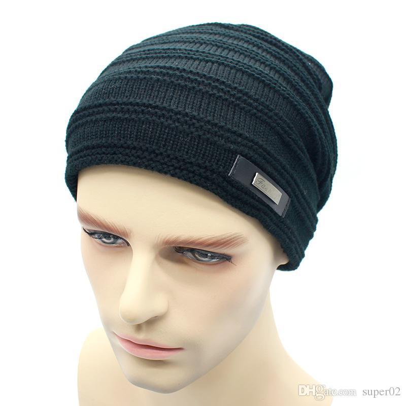 a3ecbaef64462 New Knitted Men Winter Hat Beanies Solid Color Hat Men Warm Soft Beanie  Double Layer Plus Thick Velvet Cap Bonnet Gorro Caps Trucker Caps Summer  Hats From ...