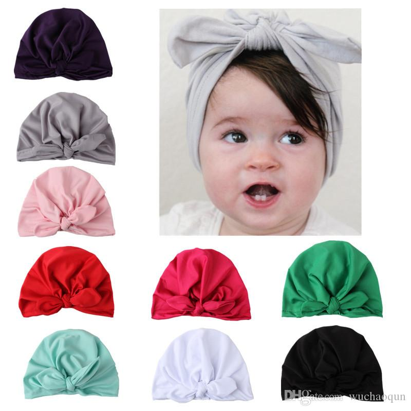 New Europe US Baby Hats Bunny Ear Caps Turban Knot Head Wraps Infant Kids India Hats Ears Cover Childen Milk Silk Beanie