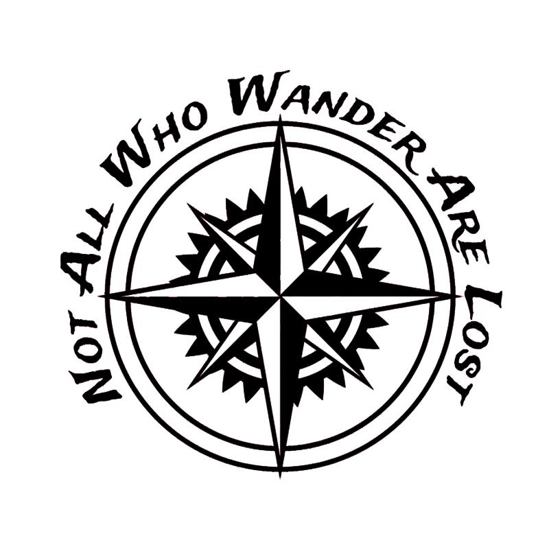 bf5d226b0a6 2019 15 14CM Not All Who Wander Are Lost Sticker Compass Decal Car Hiking  Explorer Motorcycle Suvs Bumper Car Window Vinyl Decals From Xymy777