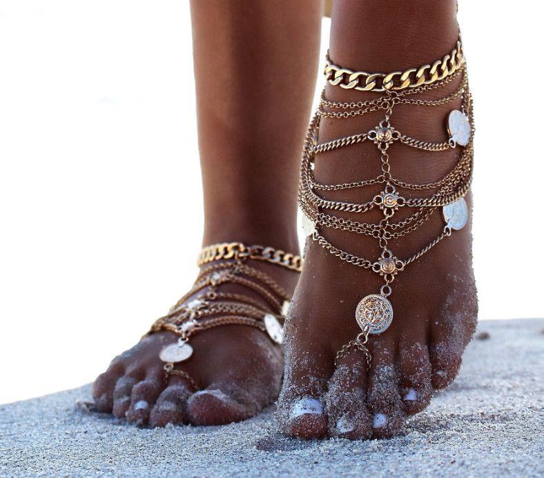 Босиком сандалии стрейч ножной браслет цепи с Toe кольцо раб ножные браслеты цепи розничная Sandbeach свадебные невесты ног ювелирные изделия