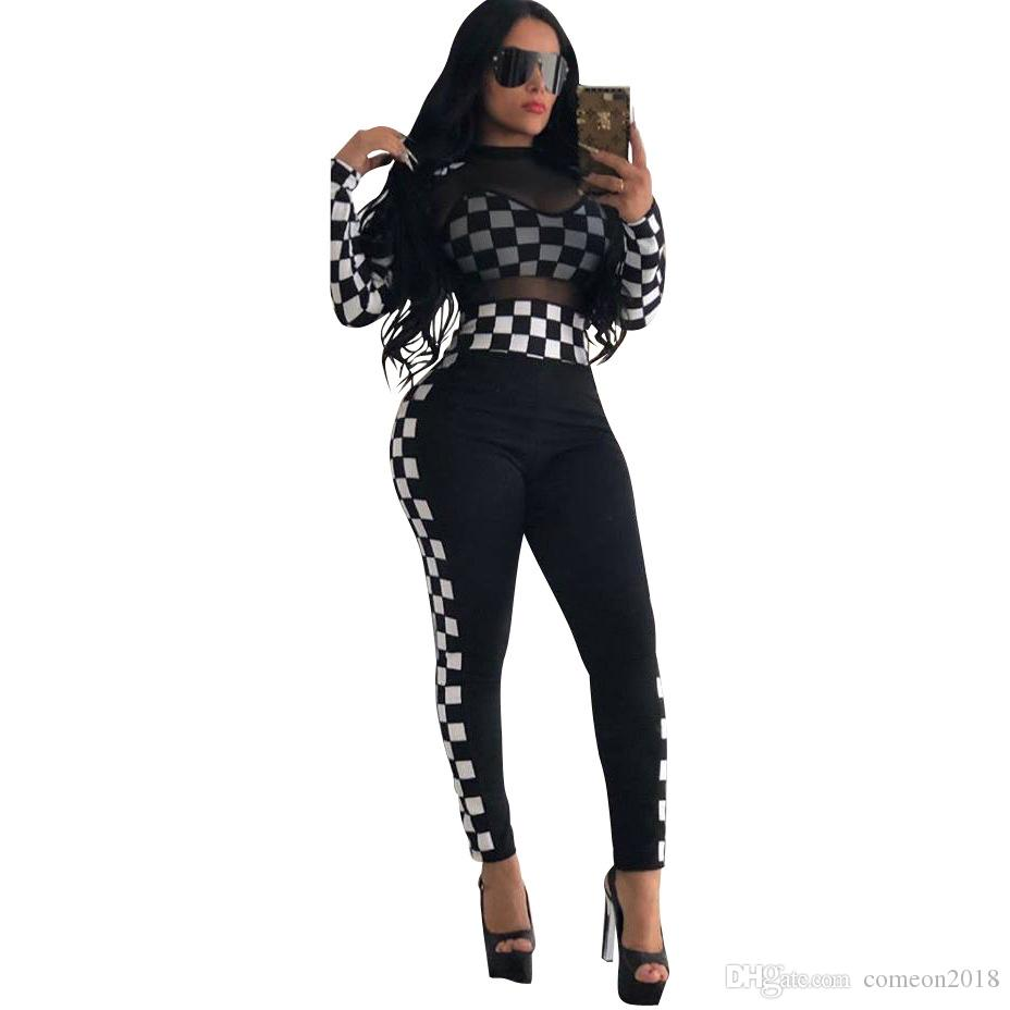 Autumn Women's Tracksuits Women Clothing Set Loose SUPER Letter Top T-Shirt+ Sports Pants Girls Casual Pullover Plaid Gauze Lace Sexy Suit