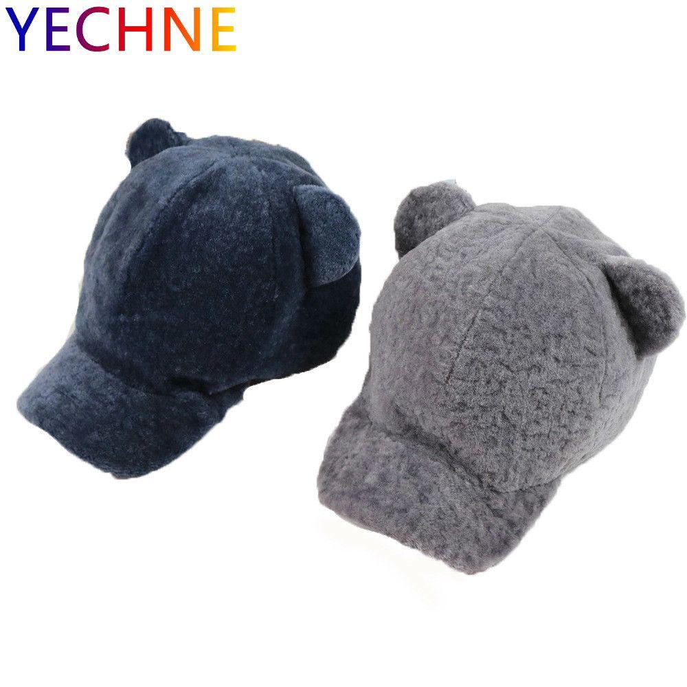 05a93468 New Fur Baseball Cap Sheep Fur Hat Wool Ladies Hat Cute Raccoon Ball Real  One Ski Winter Woman's Travel Wearing