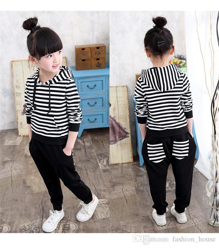 1790b3cb2a Kids black white striped casual outfits 2pc sets long stripe hoodie+black  pants cute casual clothing for boys girls 2-8T A08