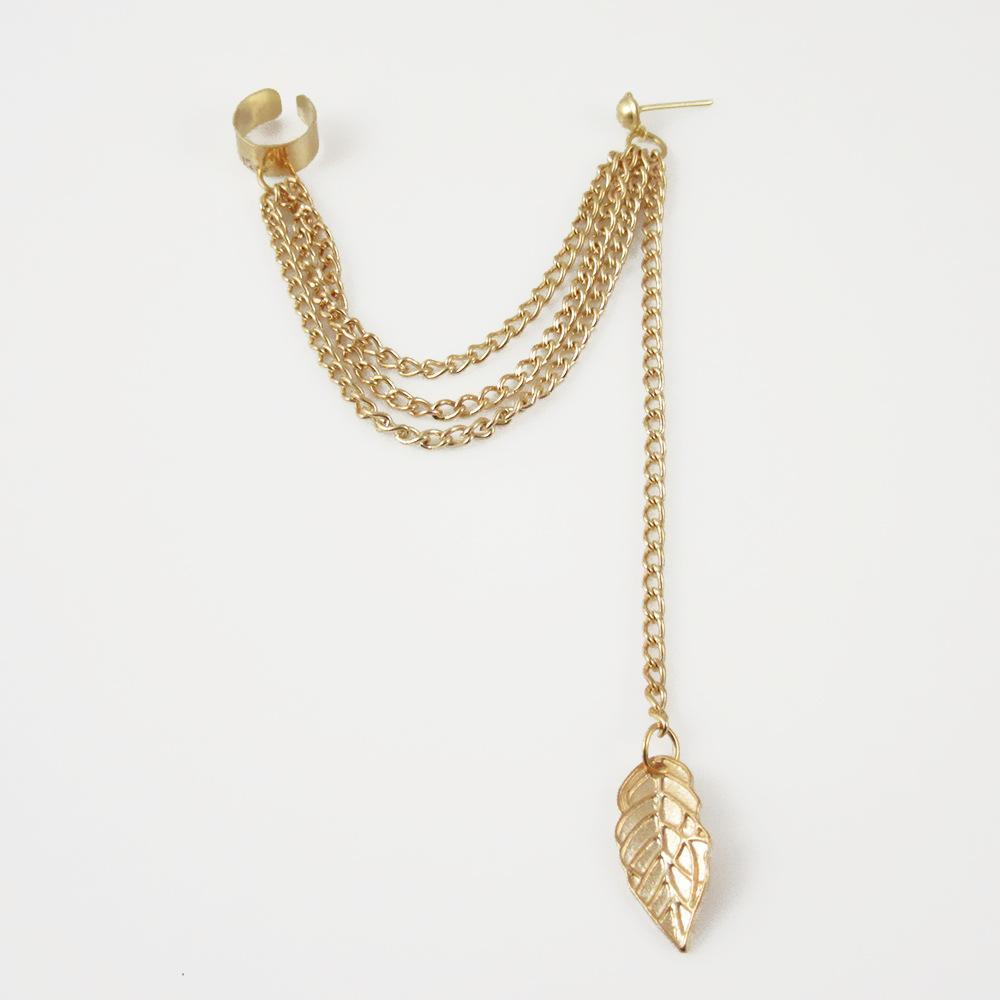 New Fashion Women Girl Punk long Leaf Chain Tassel Dangle Cuff Clip Earrings Cross Charms Metal Wrap Ear Cuff Earrings