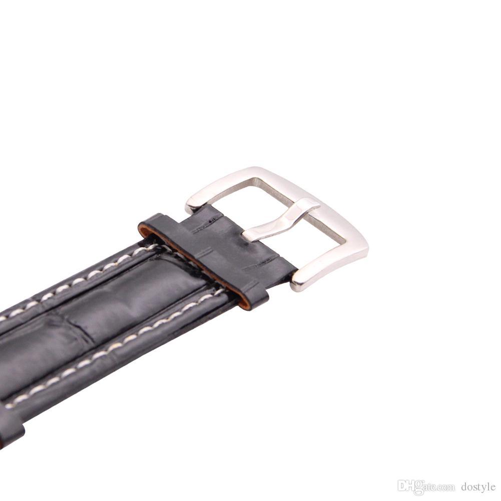 Black Leather White Dial 3 Zeitzonen Quartz Big Square Face Herren Armbanduhr Oversize 3-fach Zifferblatt Square Black Leather Sport Pilot