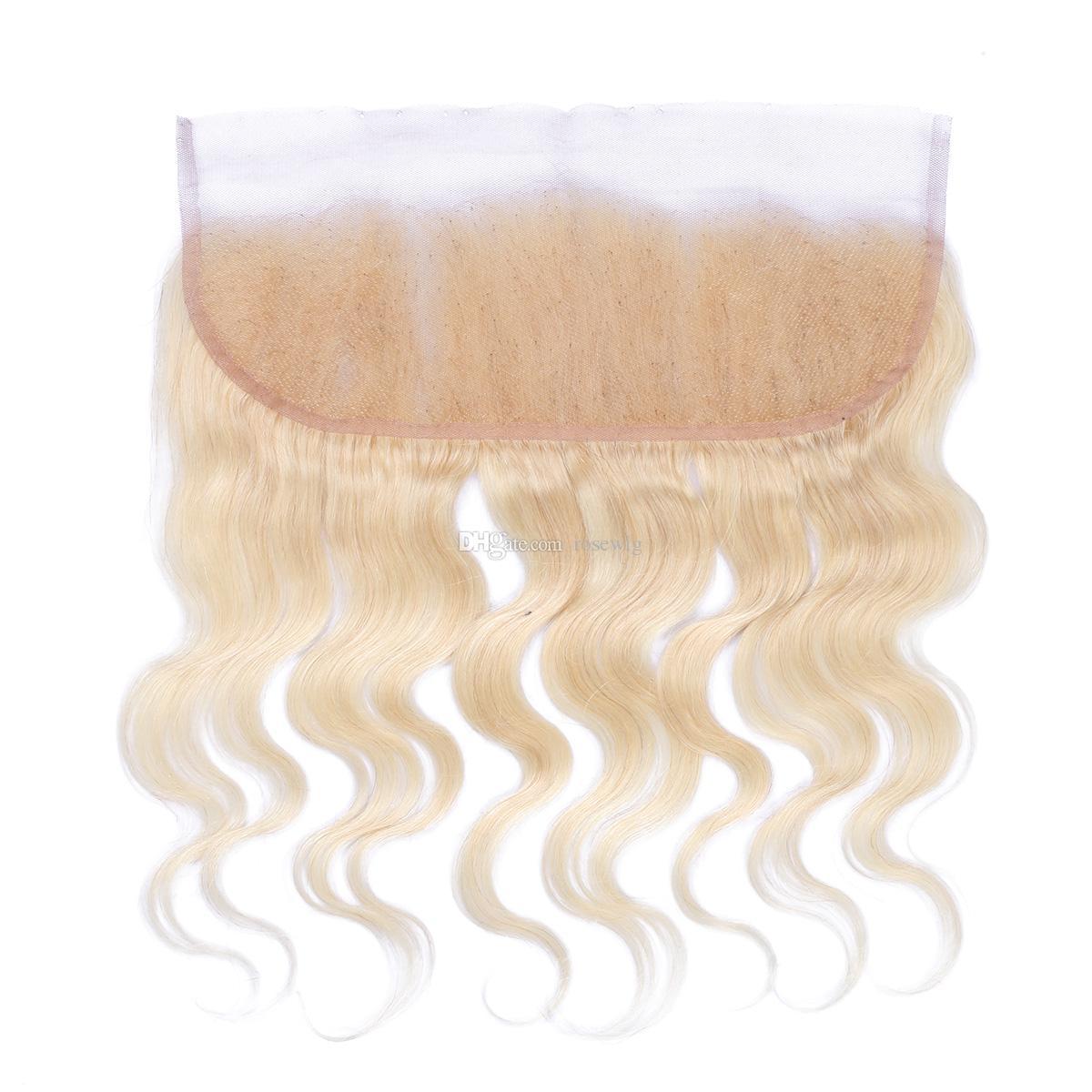 Couleur 613 blonde dentelle frontale fermeture 13x4 dentelle fermeture corps vague droite fermeture à la main top fermeture blanchi vierge remy cheveux