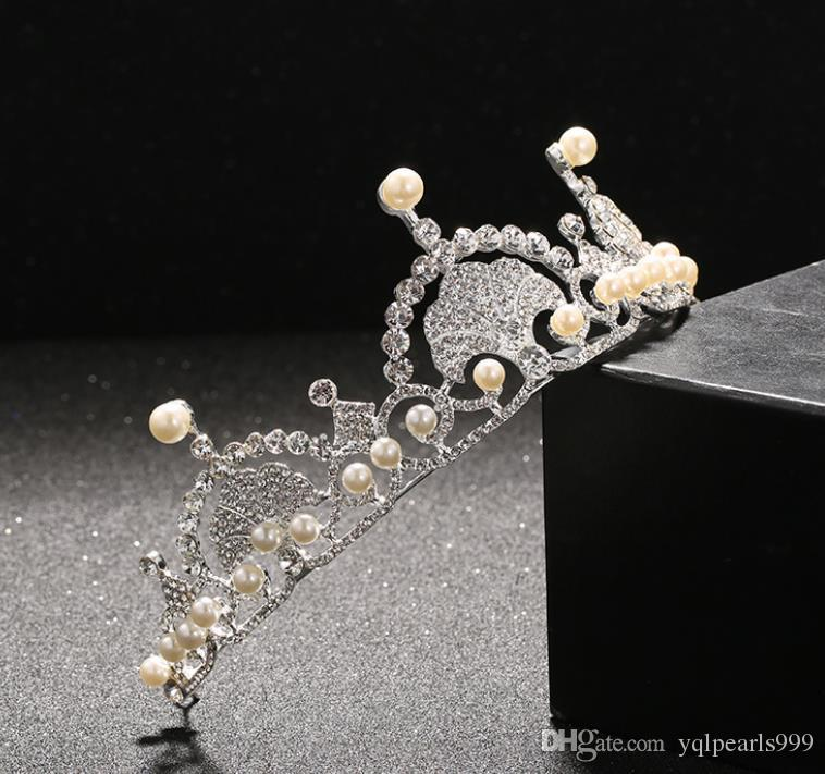Beyaz Kristal Gelin şapkalar, taç düğün matkap, inci saç süsleme gelinlik modelleme aksesuarları