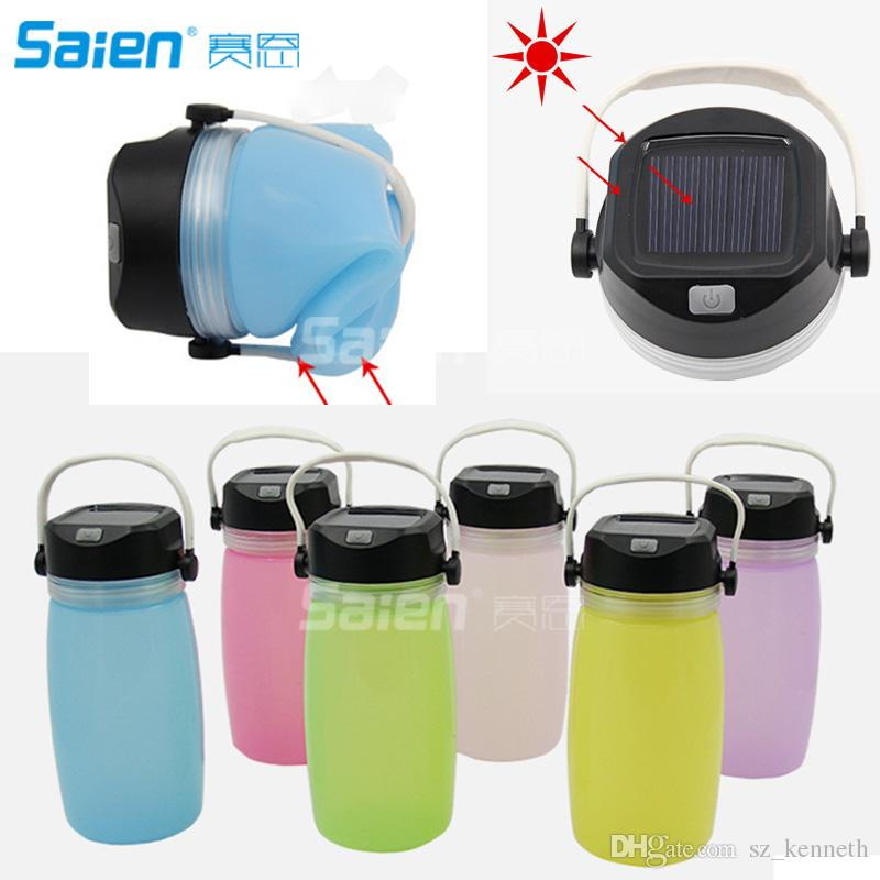 Multi-functional Folding Waterproof Storage Solar Powered Silicon Bottle Camping Lantern USB Rechargeable Portable LED Flashlight