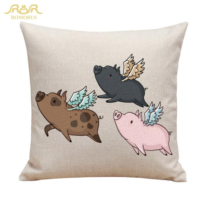 ... Pig Cushion Cover Cotton Linen Cute Animals Print Pillowcase Sofa Car  Home Decorative Pillow Cover Replacement Patio Furniture Cushions Patio  Furniture ...