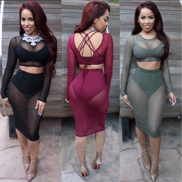 2019 Sexy Club Wear Plus Size Women Two Piece Outfits Summer Mesh