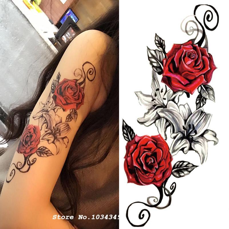 Acheter Aquarelle Fleur Corps Temporaire Tatouage Si Belle Peut Etre