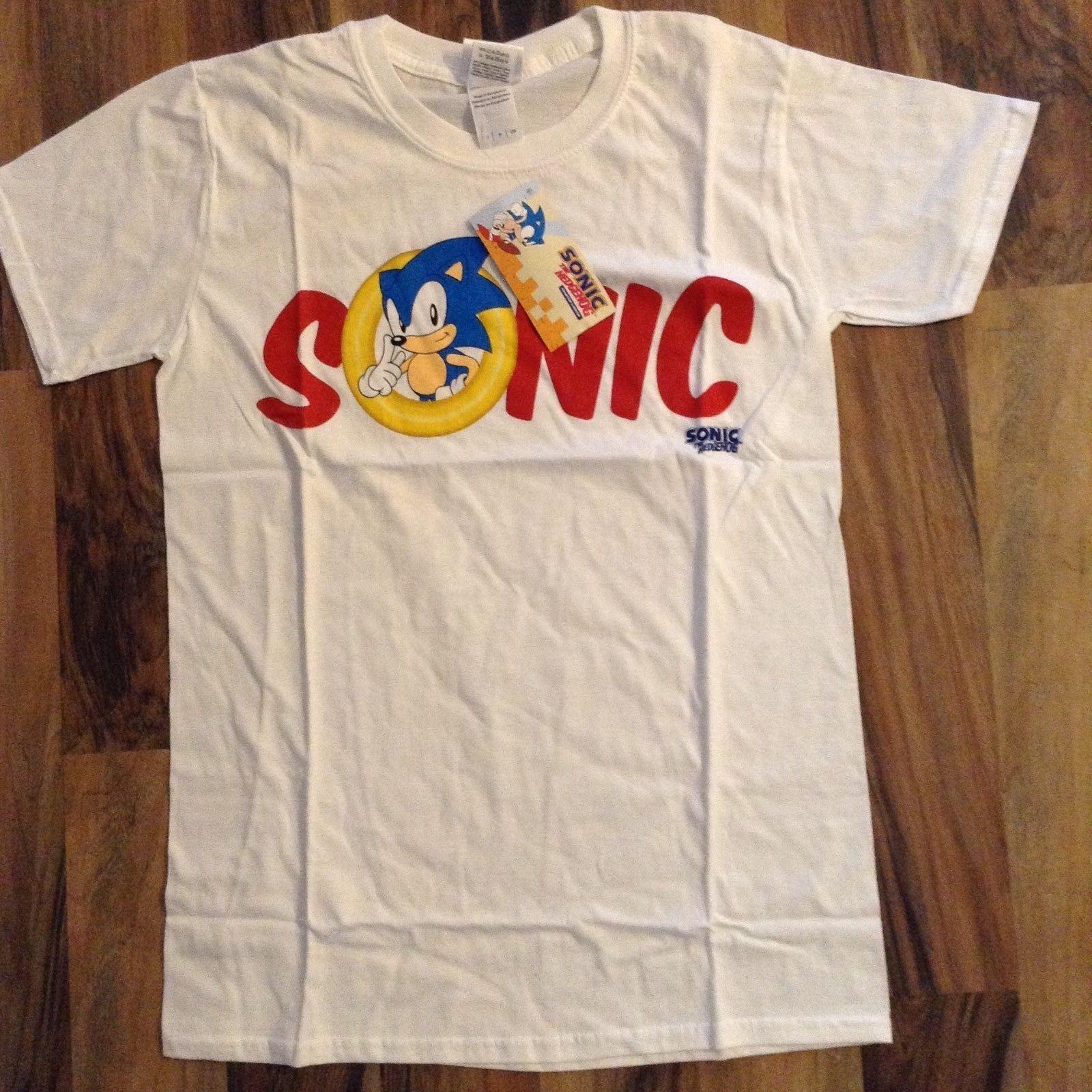 Mens White Retro Sonic The Hedgehog T Shirts Print Tees Buy Shirt