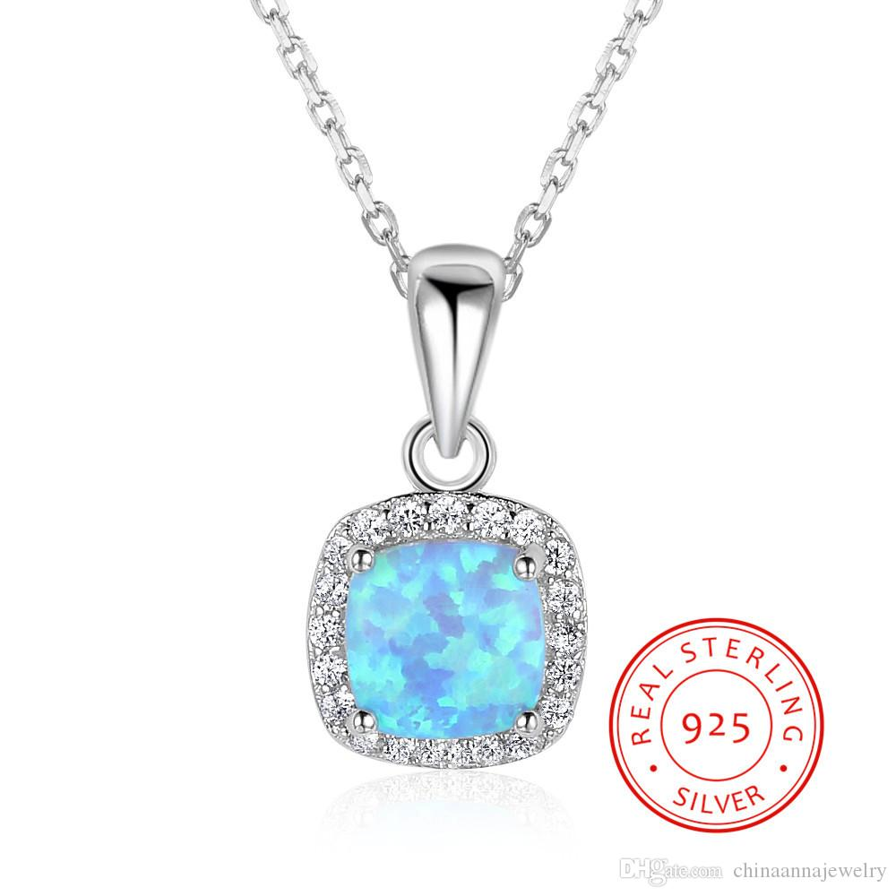 genuine s925 silver necklace summer online wholesale solid 925 sterling silver blue synthetic opal person pendant necklace