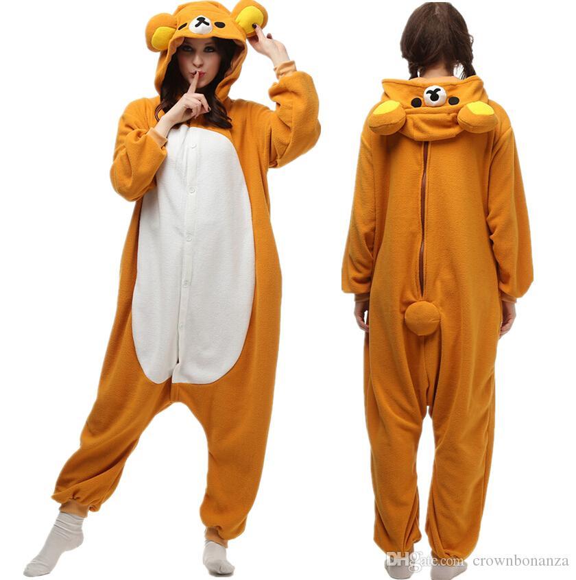 Мультфильм взрослых Rilakkuma пижамы флис животных домашняя одежда  комбинезон унисекс Onesie Rilakkuma пижамы Хэллоуин косплей костюмы b42dc5970db0a