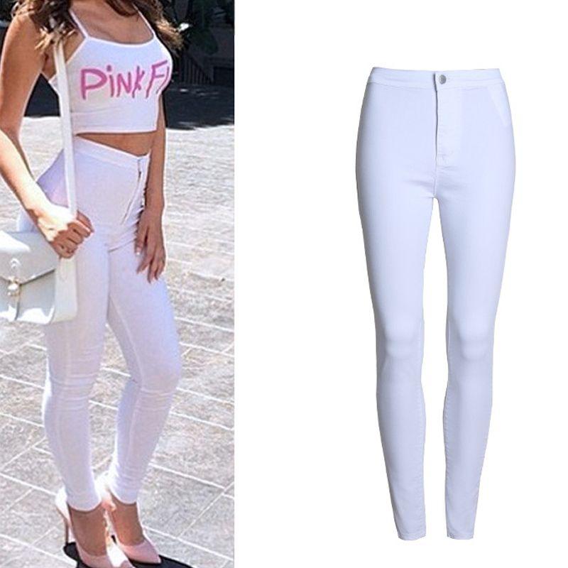 7c0b486806 Compre Moda Delgado Femme Femenino 2016 Blanco Con Cintura Alta Jeans  Ajustados Color Caramelo De Las Mujeres Pantalones Nuevos Pantalones S1011  A  29.32 ...