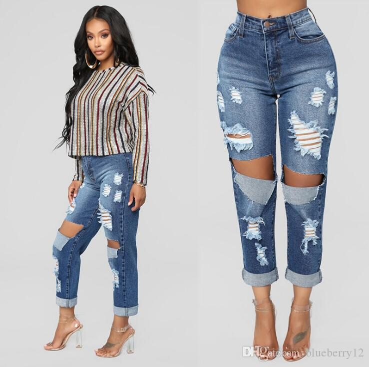 2a4b013d4f 2019 Fashion Womens Broken Jeans Sexy Hole Scratched Mommy Jeans Skin Tight  Blue Denim Pants High Street Ripped Pencil Pants From Blueberry12