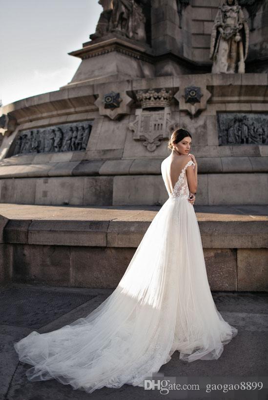 Gali Karten 2019 Pizzo Abiti da sposa Abiti da sposa Sheer fuori dalla spalla Apri Indietro Bohemian Lace Zipper Torna Appliqued Abiti da sposa