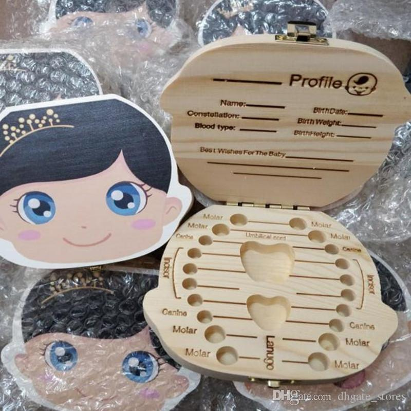 Wood Tooth Box Baby Milk Teeth organizer Boxes boy girl's baby teeth Wood  storage Case Saver Children Keepsakes english spanish languages