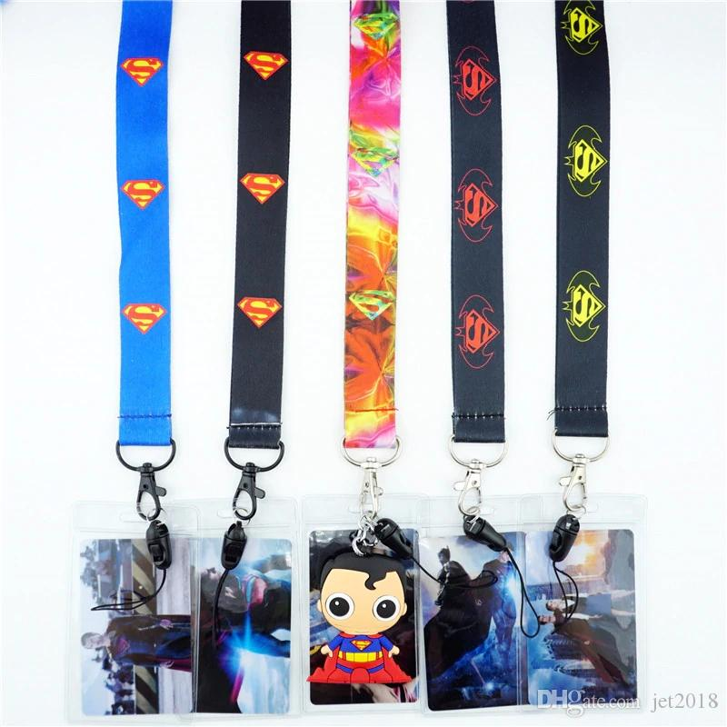 DHL Free Shipping Cartoon Superman Super hero Neck Lanyard key chain Mobile cell phone neck straps charms