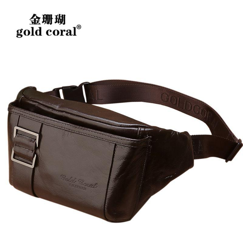 5339967cc35 GOLD CORAL Fashion Waist Belt Bag Casual Men Genuine Leather Travel Hip Bum  Bag Fanny Pack for Phone Pouch Male Messenger Bags