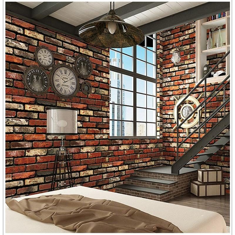 10M Self-adhesive Wall Sticker Wall Paper PVC Waterproof Red Brick Lattice Wallpaper 3D Living Room Furniture Home Decor