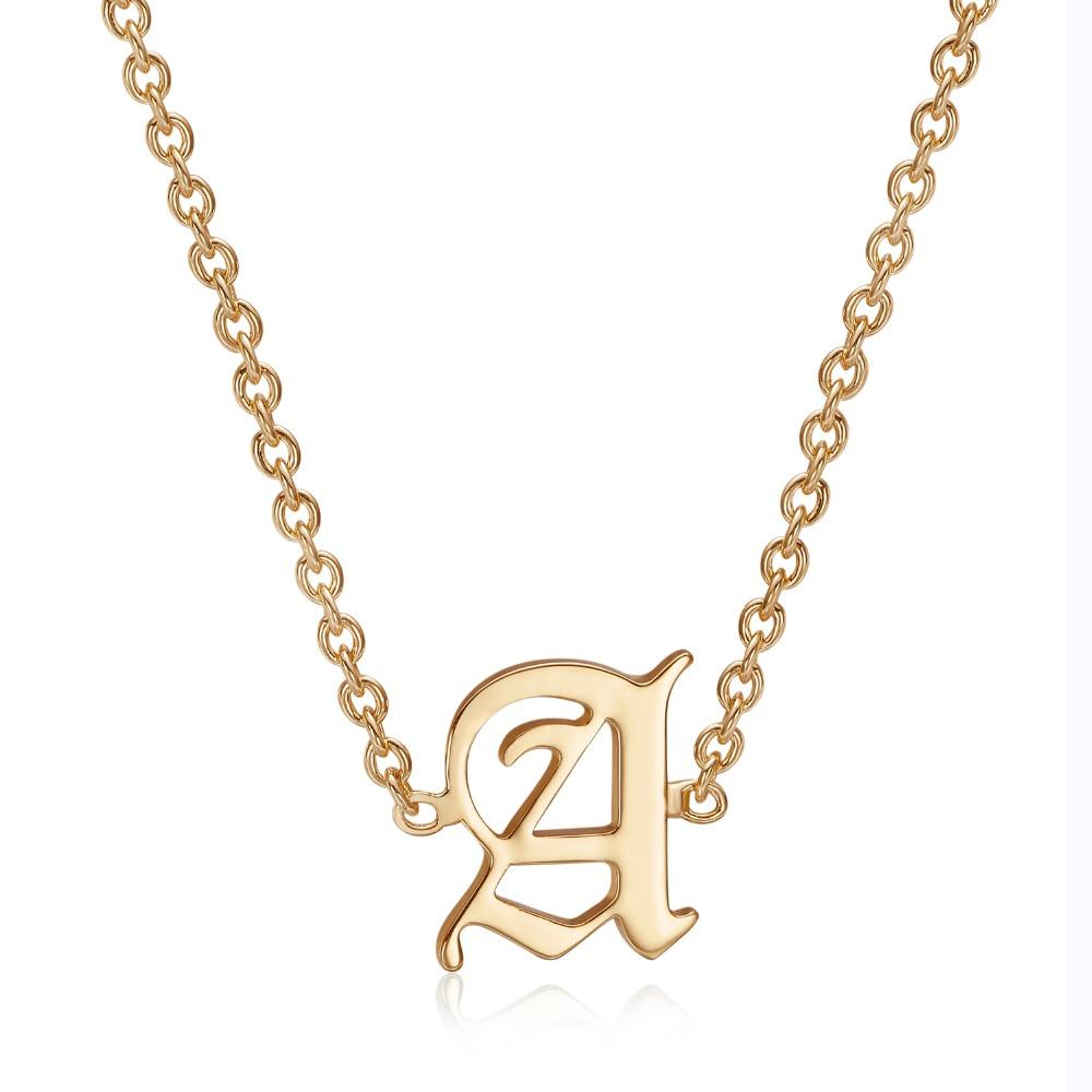 Duoying Old English Text Font Single Inititial A Z Letter Choker
