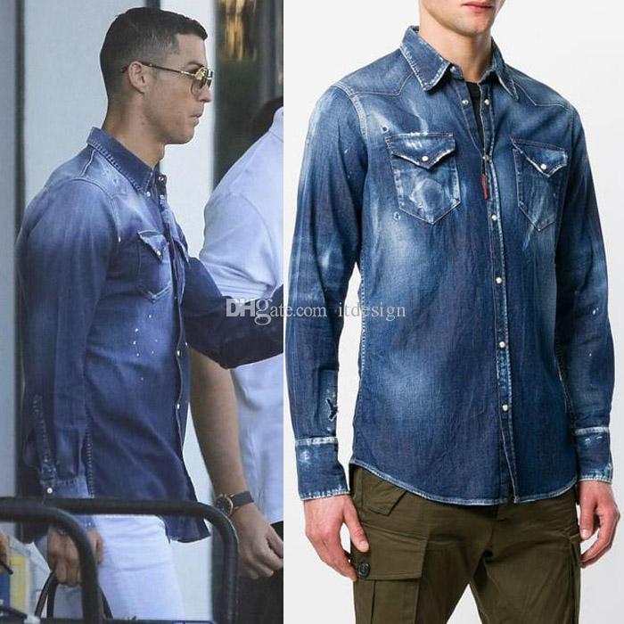 new styles 43da0 5f7c6 Camicia di jeans invecchiata Moda uomo Design maniche lunghe Faded Painted  Effect Camicie da cowboy Cool Guy Slim Fit