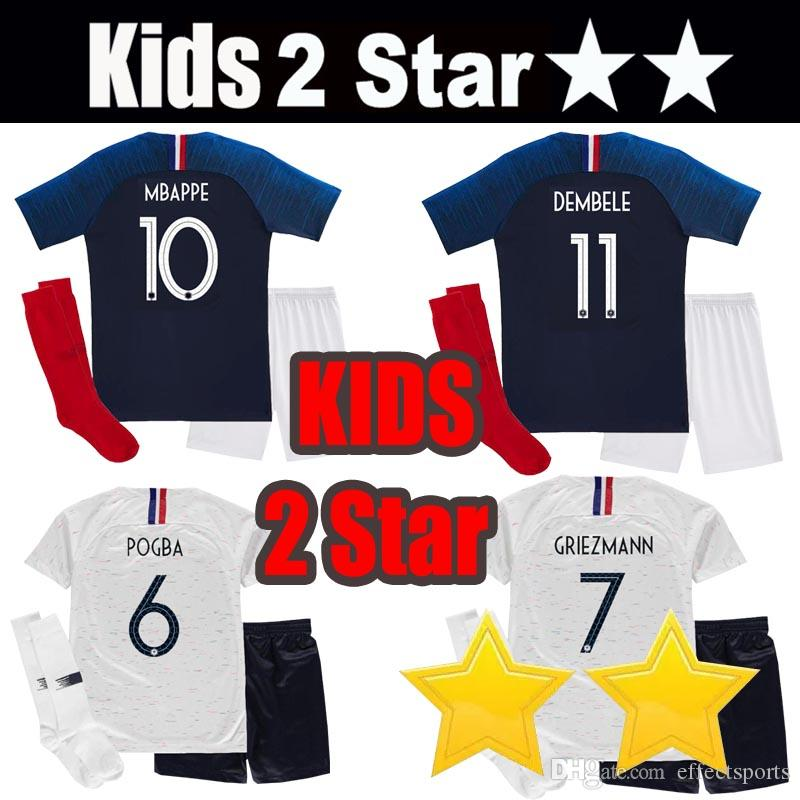 98ff907a71cd ... where can i buy 2 stars kids kit griezmann mbappe pogba soccer jerseys  2018 world cup