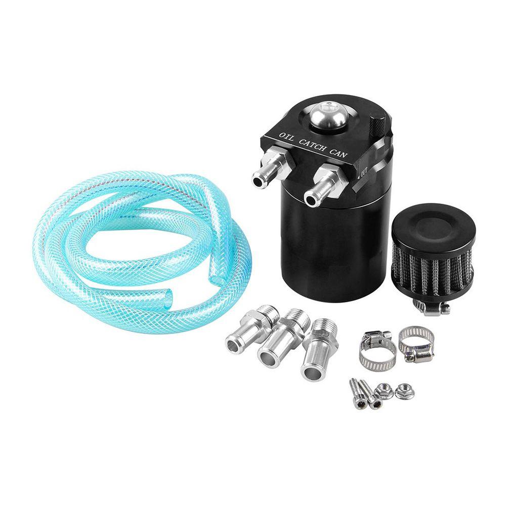 Cylinder Aluminum Car Engine Oil Catch Reservoir Breather Tank Can w/  Filter Black
