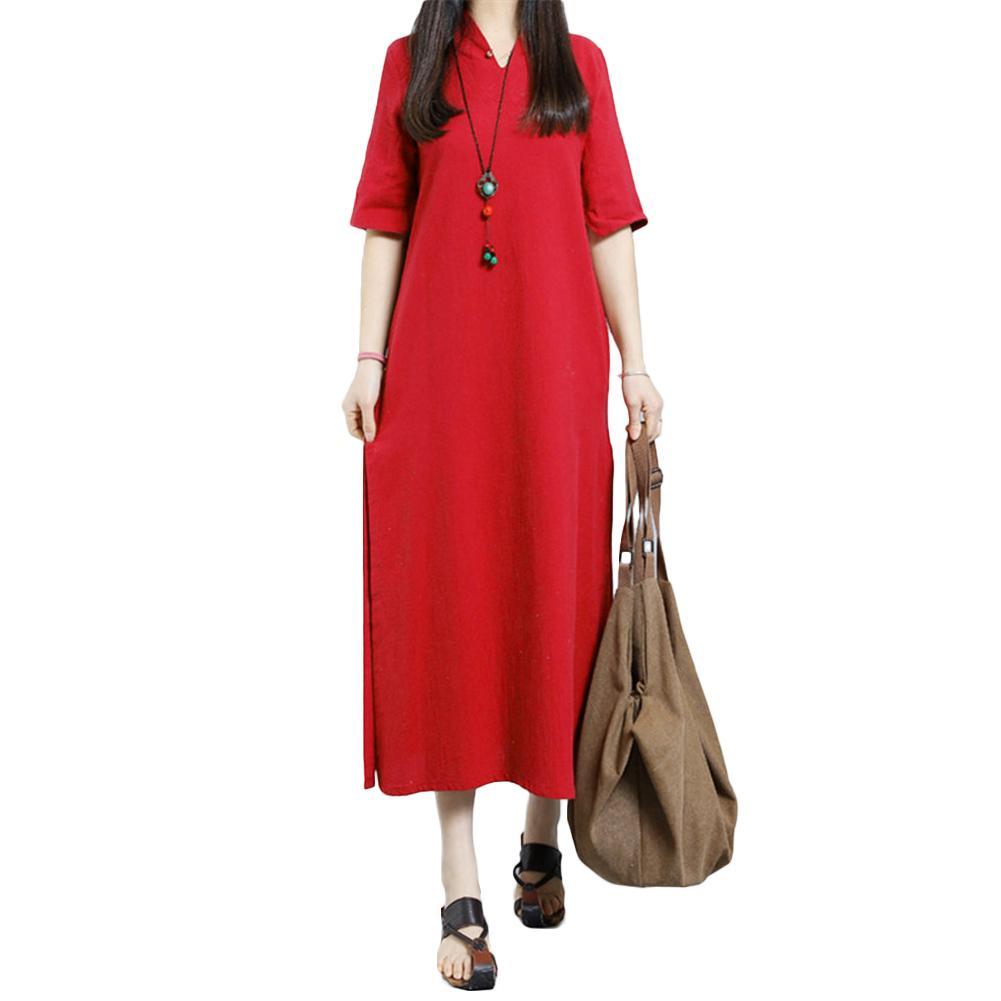 0f48d17ec9d 5XL Plus Size Cotton Linen Dress Fashion Women Autumn Midi Dress V Neck  Keyhole Button Half Sleeve Side Slit Solid Loose Dress Grey Summer Dress  Casual ...