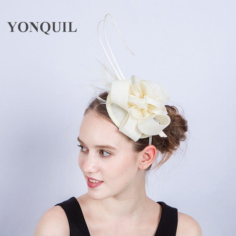 ed1f8cbd21c2b New Arrival Multicolors Ivory Feather Wedding Hat Fascinator For Bridal  Derby Imitation Sinamay Hat Headwear Church Hat SYF193 Wedding Veil Hat  Birdcage ...