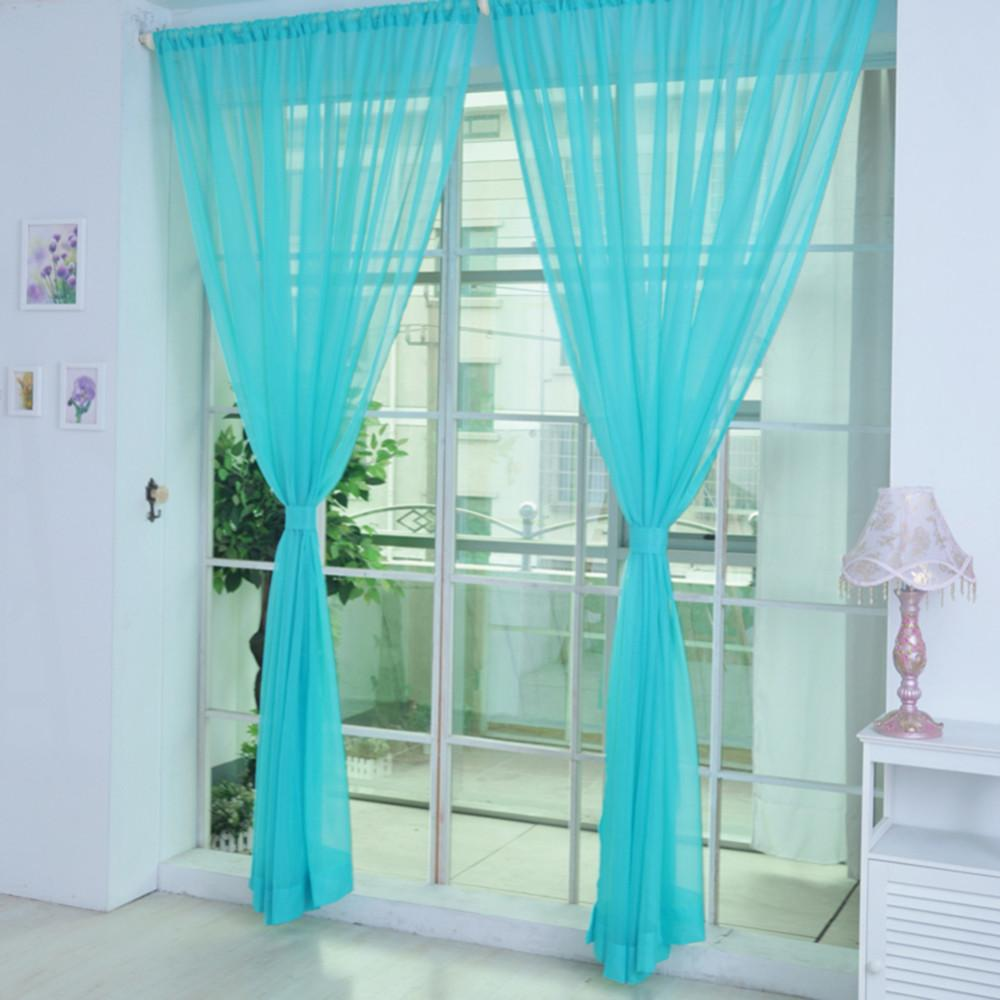 Blackout Kitchen Curtains Solid Wedding Glass Yarn Translucent ...