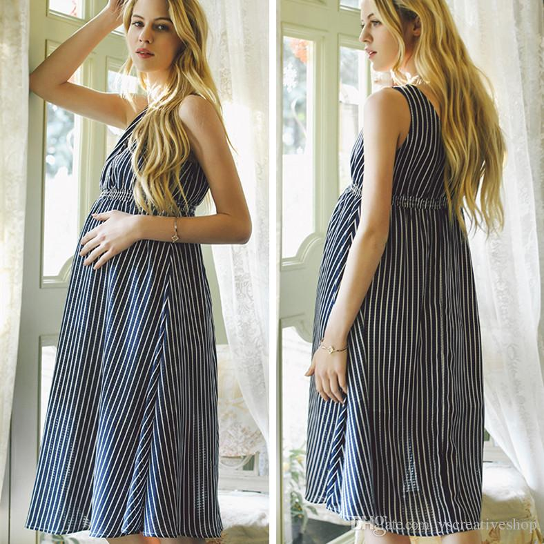 54e894894e5e0 2019 Pregnant Women Dress Summer Europe And The United States Maternity  Dress Loose Large Size High Waist Chiffon V Neck Dress For Pregnant Women  From ...