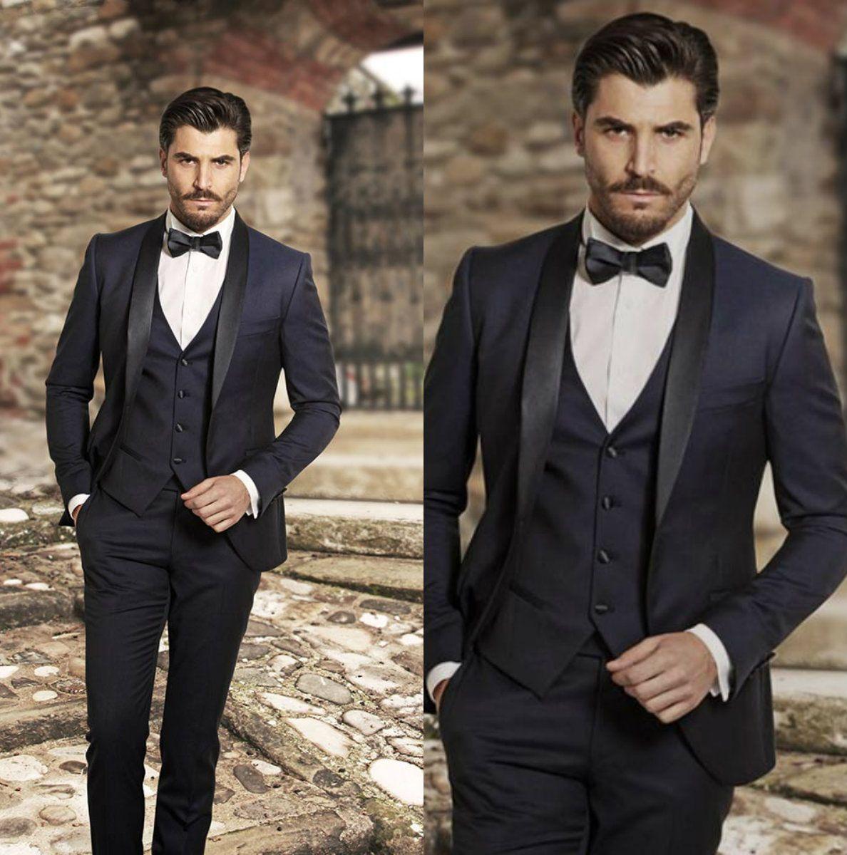 Navy Blue Tailcoat Mens Wedding Suits Tuxedos Black Notch Lapel ...