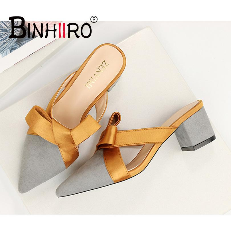 b7b090fa3e1d38 BINHIIRO 2018 Best Quality Pointed Big Bow Woman Summer Mules Slippers  Mixed Colors Pointed Toe Women S Shoes Flip Flops T6007 9 Womens Ankle  Boots Ladies ...