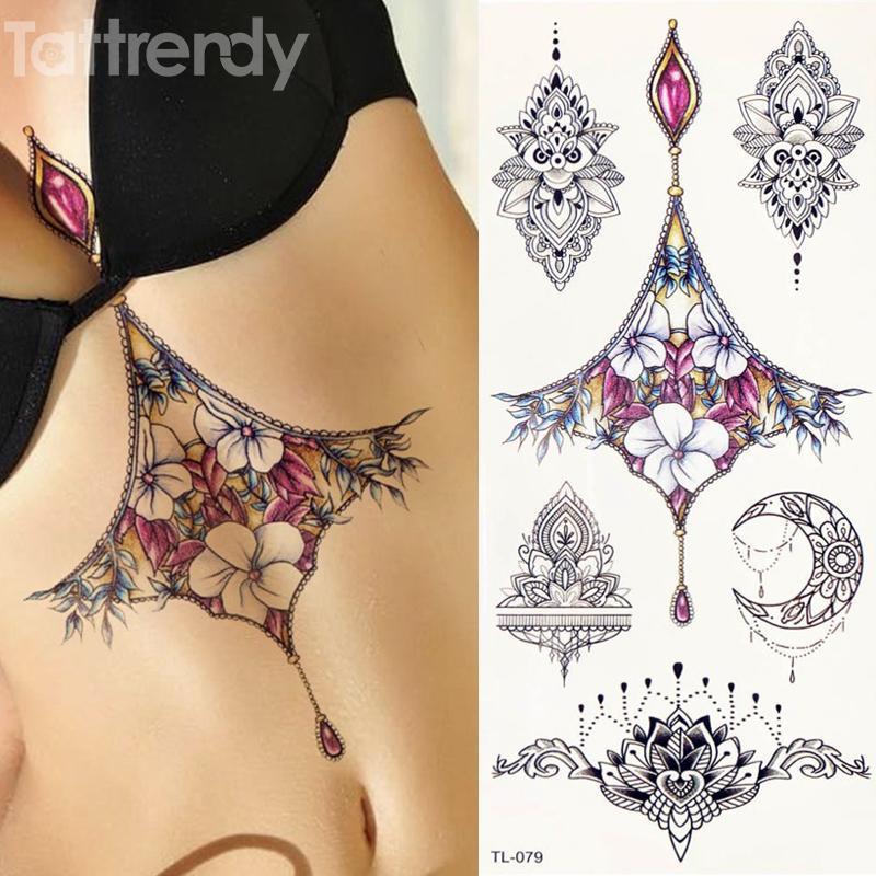 Acheter 1 Feuille Femmes Sternum Bijoux De Tatouage Temporaire Corps