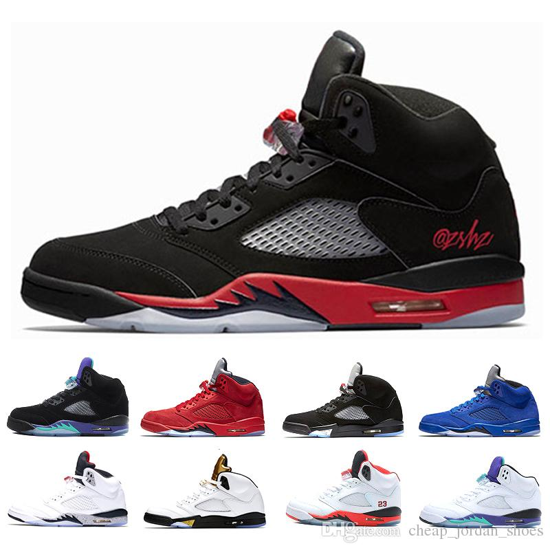 0f85b0193a88c7 New Arrival 5 5s Basketball Shoes Men OG Black Metallic White Grape Oreo 5s Fire  Red Blue Suede White Cement Bred Sport Sneakers Low Top Basketball Shoes ...