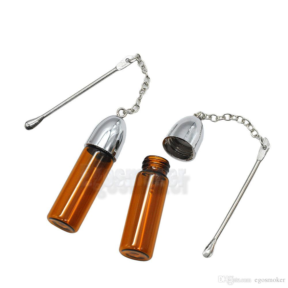 57mm brown clear Glass Bottle Snuff Dispenser Bullet Rocket Snorter Snuff Pill Case With Metal Scrapper W18C