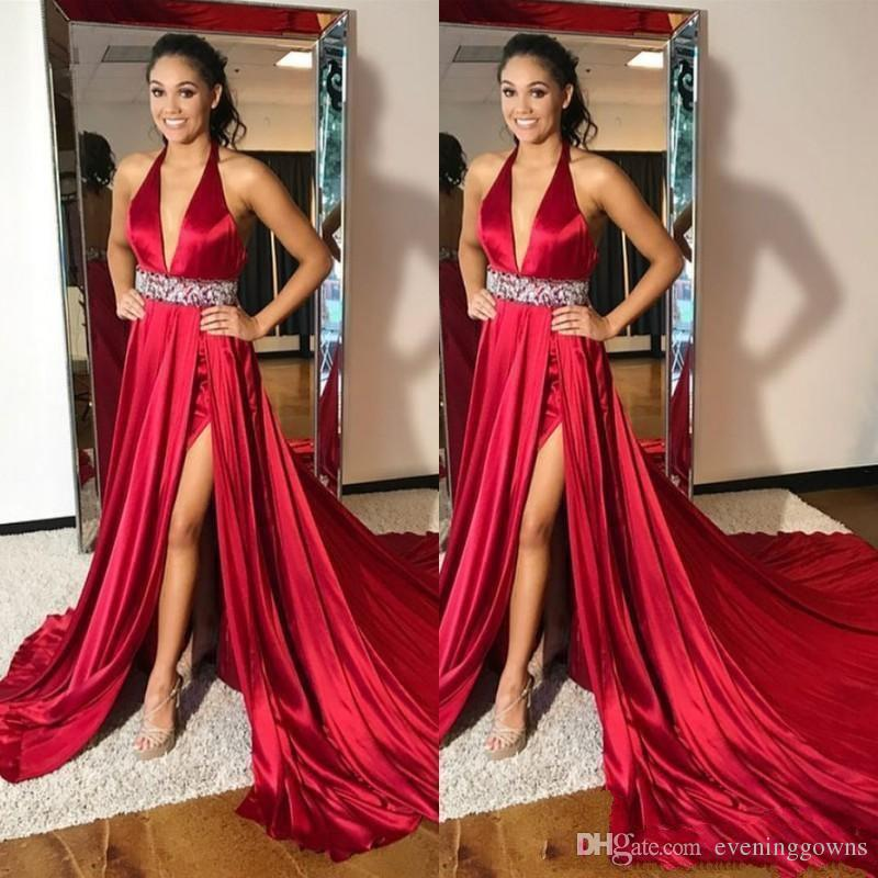 Sexy Deep V Neck Long Red Prom Dresses Crystals Beaded Sleeveless